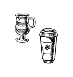 Takeaway paper cup and coffee mug vector image