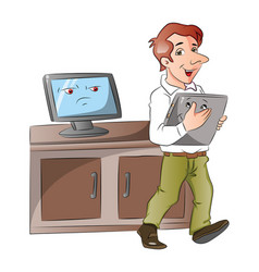 a cartoon monitor looking at businessman carrying vector image vector image