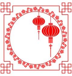 Chinese paper cutting motif chinese lantern vector