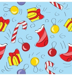 Christmas decorations - seamless pattern vector image