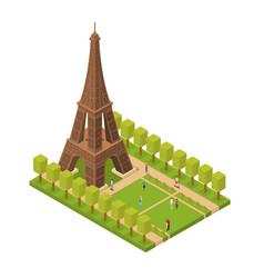 eiffel tower famous landmark of paris isometric vector image vector image