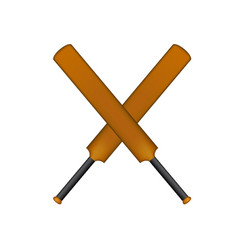 crossed cricket bats in vintage design vector image vector image