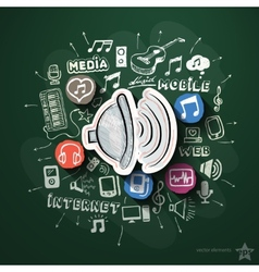 Entertainment and music collage with icons on vector image vector image