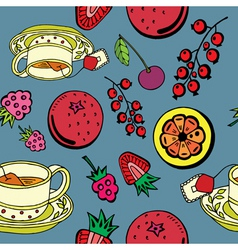fruit and tea pattern vector image