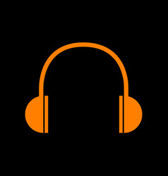 headphones sign orange icon on black vector image