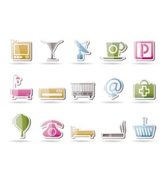 hotel and motel icons vector image vector image