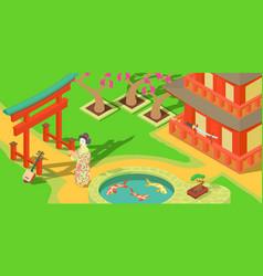 japan travel horizontal banner cartoon style vector image vector image