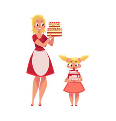 mother and daughter holding birthday cakes vector image vector image