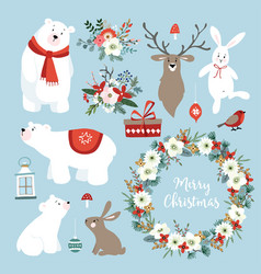 set of cute christmas clip-arts with bunnies vector image