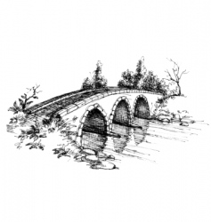 stone bridge over river sketch vector image vector image