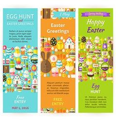 Easter holiday invitation vertical flyer set vector