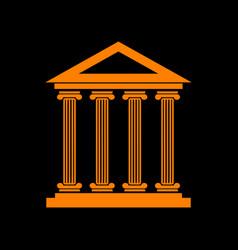 historical building orange icon on vector image