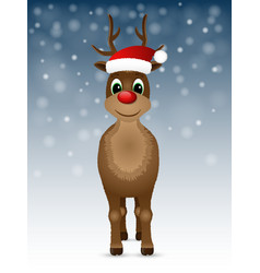 Reindeer with red nose and Santa hat vector image vector image