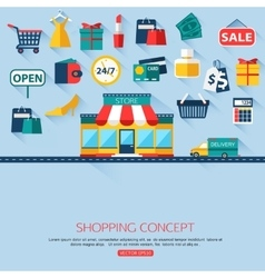 Shopping concept background with place for text vector image vector image