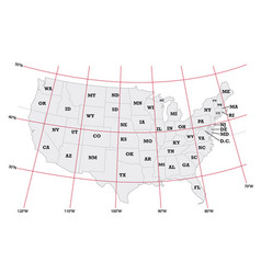 Administrative map united states vector