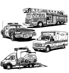 Autos drawings set vector