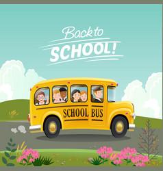 back to school concept school bus with children vector image