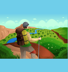 Backpackers on top mountains vector