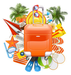 beach accessories with rolling bag vector image