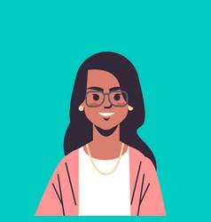 Beautiful indian woman wearing glasses looking vector