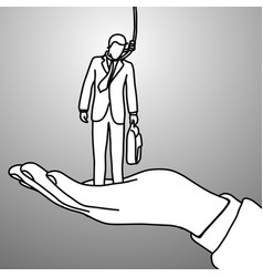 big right hand helping businessman vector image