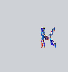 Business people crowd forming shape letter k vector