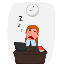 Businessman sleeping on work table cartoon vector
