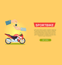 Buying sportbike online bike sale web banner vector