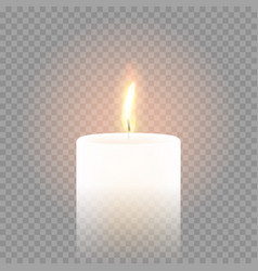 Candle flame burning 3d realistic transparent vector