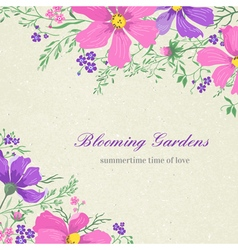 card with flowers on a gray background vector image