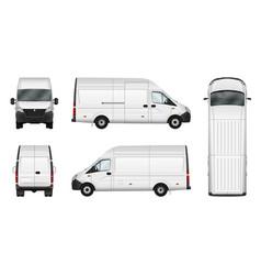 Cargo van blank on white city vector