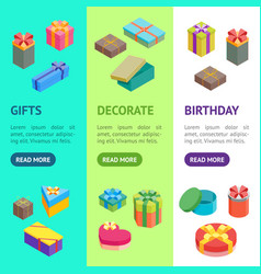 cartoon present boxes banner vecrtical set vector image
