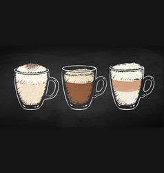 Chalked collection coffee cups vector
