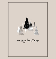 christmas winter landscape greeting card with vector image