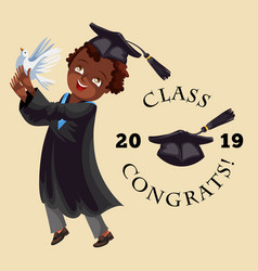 college graduation flat colorful poster with vector image
