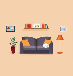 Cozy room in house with a photo parents vector