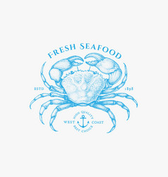 Crab vintage label vector