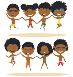 Cute african-american summer people jumping on vector