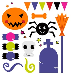 Cute various design elements for halloween vector