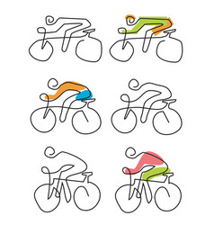 cycling line art icons vector image