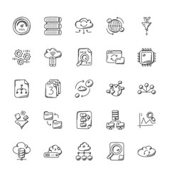 database and storage icons vector image