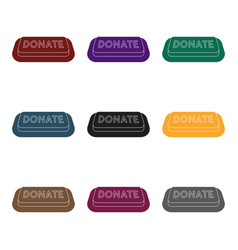 donate button icon in black style isolated on vector image