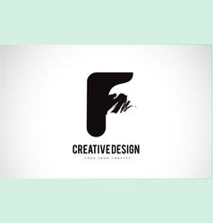 F letter logo design brush paint stroke artistic vector