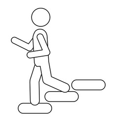 Figure person down the stairs icon vector