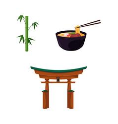 Flat japanese symbols set vector