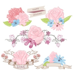 Floral design elements bouquets and banners vector image vector image