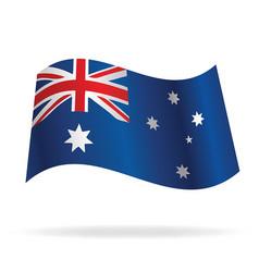 Flying australian flag vector