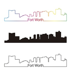 Fort Worth skyline linear style with rainbow vector image