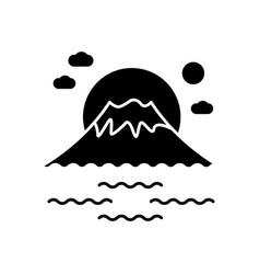 Fuji mount black glyph icon tokyo mountain with vector