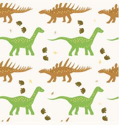 funny colorful seamless pattern with dino vector image